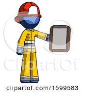 Blue Firefighter Fireman Man Showing Clipboard To Viewer