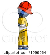 Blue Firefighter Fireman Man Thinking Wondering Or Pondering Rear View