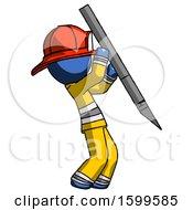 Blue Firefighter Fireman Man Stabbing Or Cutting With Scalpel