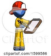 Blue Firefighter Fireman Man Using Clipboard And Pencil