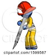Blue Firefighter Fireman Man Cutting With Large Scalpel