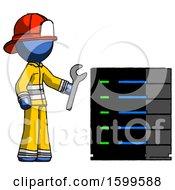 Blue Firefighter Fireman Man Server Administrator Doing Repairs