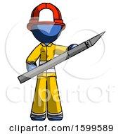 Blue Firefighter Fireman Man Holding Large Scalpel