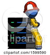 Poster, Art Print Of Blue Firefighter Fireman Man Resting Against Server Rack Viewed At Angle