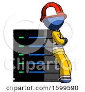 Blue Firefighter Fireman Man Resting Against Server Rack Viewed At Angle