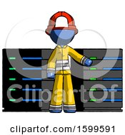 Blue Firefighter Fireman Man With Server Racks In Front Of Two Networked Systems