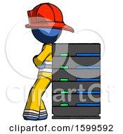 Poster, Art Print Of Blue Firefighter Fireman Man Resting Against Server Rack