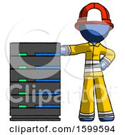 Poster, Art Print Of Blue Firefighter Fireman Man With Server Rack Leaning Confidently Against It