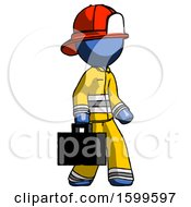 Blue Firefighter Fireman Man Walking With Briefcase To The Right