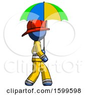 Blue Firefighter Fireman Man Walking With Colored Umbrella