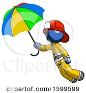 Blue Firefighter Fireman Man Flying With Rainbow Colored Umbrella