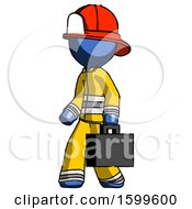 Blue Firefighter Fireman Man Walking With Briefcase To The Left