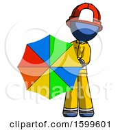 Blue Firefighter Fireman Man Holding Rainbow Umbrella Out To Viewer