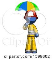 Blue Firefighter Fireman Man Holding Umbrella Rainbow Colored