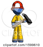 Blue Firefighter Fireman Man Holding Hammer Ready To Work