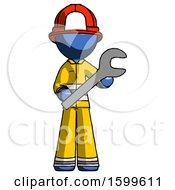 Blue Firefighter Fireman Man Holding Large Wrench With Both Hands