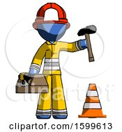 Blue Firefighter Fireman Man Under Construction Concept Traffic Cone And Tools