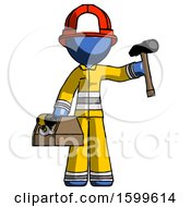 Blue Firefighter Fireman Man Holding Tools And Toolchest Ready To Work