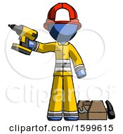 Blue Firefighter Fireman Man Holding Drill Ready To Work Toolchest And Tools To Right