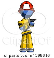 Blue Firefighter Fireman Man Holding Large Drill