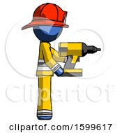 Blue Firefighter Fireman Man Using Drill Drilling Something On Right Side