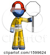 Blue Firefighter Fireman Man Holding Stop Sign