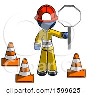 Blue Firefighter Fireman Man Holding Stop Sign By Traffic Cones Under Construction Concept