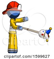Blue Firefighter Fireman Man Holding Jesterstaff I Dub Thee Foolish Concept