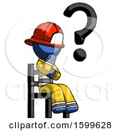Blue Firefighter Fireman Man Question Mark Concept Sitting On Chair Thinking