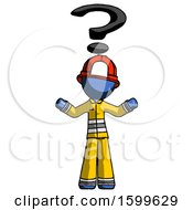 Blue Firefighter Fireman Man With Question Mark Above Head Confused