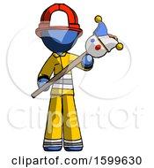 Blue Firefighter Fireman Man Holding Jester Diagonally