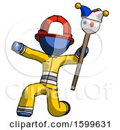 Blue Firefighter Fireman Man Holding Jester Staff Posing Charismatically