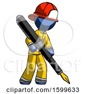 Blue Firefighter Fireman Man Drawing Or Writing With Large Calligraphy Pen