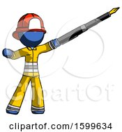 Poster, Art Print Of Blue Firefighter Fireman Man Pen Is Mightier Than The Sword Calligraphy Pose