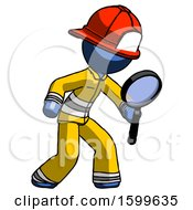 Blue Firefighter Fireman Man Inspecting With Large Magnifying Glass Right