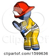 Blue Firefighter Fireman Man Inspecting With Large Magnifying Glass Left
