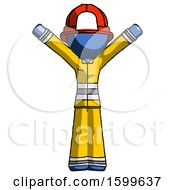 Blue Firefighter Fireman Man With Arms Out Joyfully