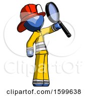 Blue Firefighter Fireman Man Inspecting With Large Magnifying Glass Facing Up