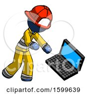 Blue Firefighter Fireman Man Throwing Laptop Computer In Frustration