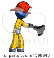 Blue Firefighter Fireman Man Dusting With Feather Duster Downwards
