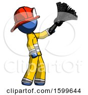 Blue Firefighter Fireman Man Dusting With Feather Duster Upwards