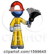Blue Firefighter Fireman Man Holding Feather Duster Facing Forward