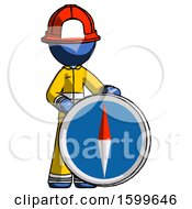 Blue Firefighter Fireman Man Standing Beside Large Compass