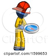 Blue Firefighter Fireman Man Looking At Large Compass Facing Right