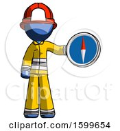 Blue Firefighter Fireman Man Holding A Large Compass