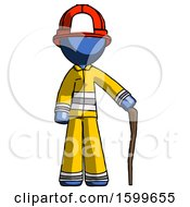 Blue Firefighter Fireman Man Standing With Hiking Stick