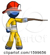 Blue Firefighter Fireman Man Pointing With Hiking Stick