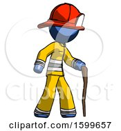 Blue Firefighter Fireman Man Walking With Hiking Stick