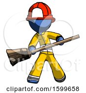 Blue Firefighter Fireman Man Broom Fighter Defense Pose