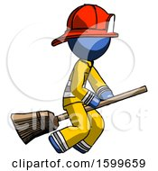 Blue Firefighter Fireman Man Flying On Broom